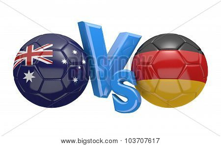 Championship match versus concept, featuring footballs from national teams Australia and Germany. poster