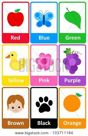 Printable flash card colletion for colors and their names with colorful pictures for preschool / kindergarten kids | let's learn colors poster