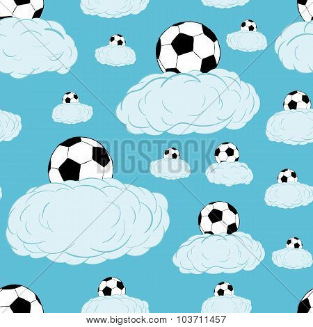 Seamless soccerballs on clouds
