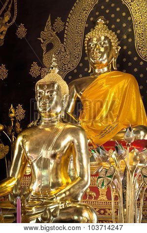 Golden Buddha Statues On The Altar At Wat Jet Yot, Chiang Mai, Thailand