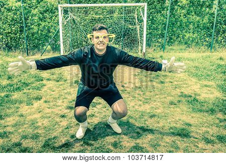 Funny Goalkeeper At Playground With Stupid Big Empty Glasses - Joke Concept Of Blindness