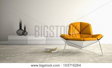 Part of interior with modern armchair 3D rendering