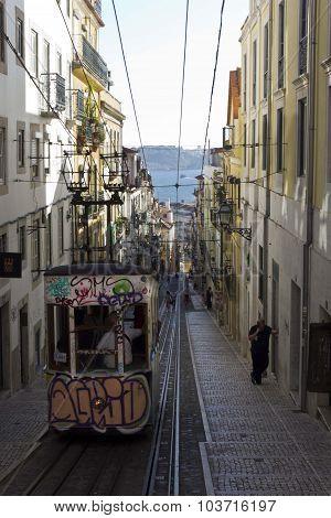 Bica Funicular In Lisbon