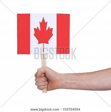 Hand Holding Small Card - Flag Of Canada