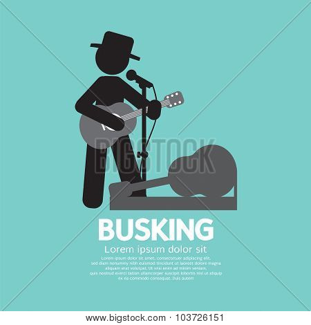 Busking, Street Performance Symbol Vector Illustration.