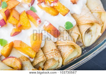 Pancakes With Cottage Cheese And Peach Doused Sour Cream