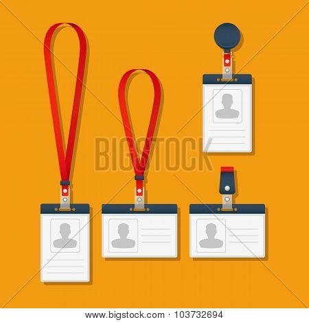 Lanyard, name tag holder and badge templates.