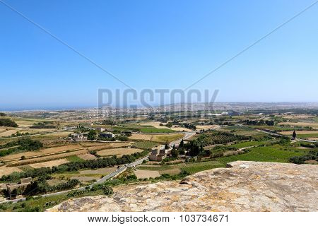 Malta countryside landscape from above