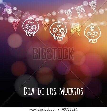 Dia De Los Muertos, Halloween Card With Lights, Hand Drawn Ornamental Sculls