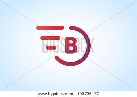 Fast line vector letter b logo monogram