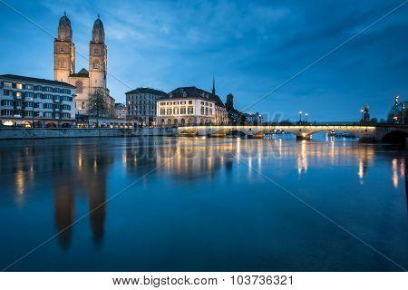 Zurich, Switzerland - nightview with Grossmunster church