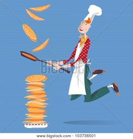 Cute Cook Boy Tosses Pancake In Frying Pan. Happy Pancake Day!