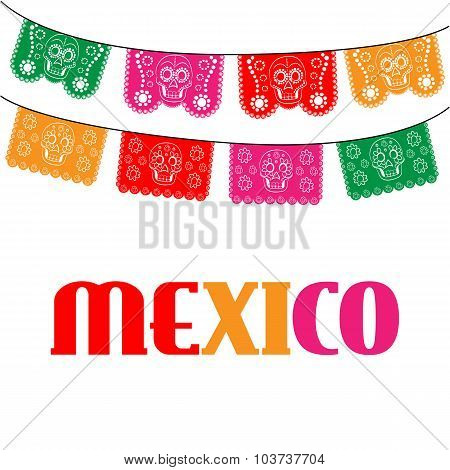 mexico. multicolored template with hanging traditional mexican flags
