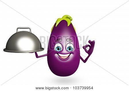 Cartoon Character Of  Brinjal Fruit With Pan