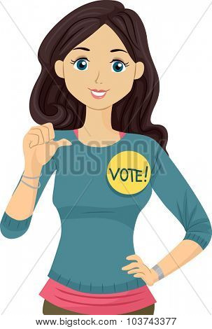 Illustration of a Teenage Student Council Candidate Promoting Herself poster