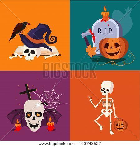 Halloween Skull and Pumpkin Vector Illustration Set