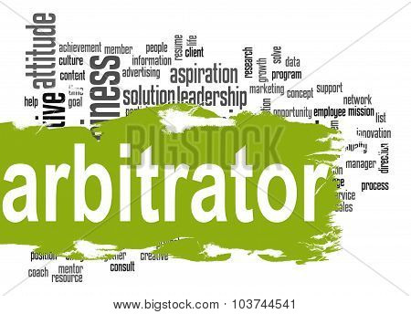 Arbitrator Word Cloud With Green Banner