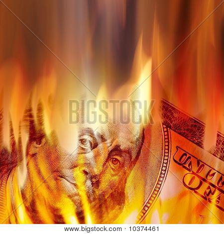 Geld In Flammen brennen