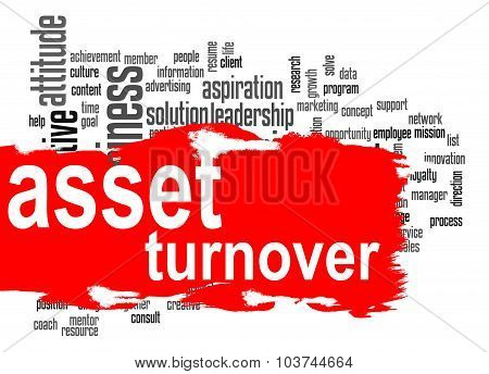 Asset turnover word cloud with red banner image with hi-res rendered artwork that could be used for any graphic design. poster