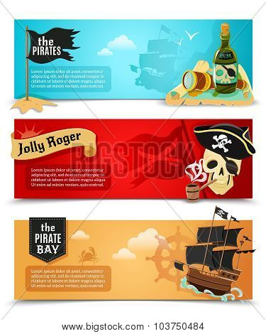 Pirates flat banners set