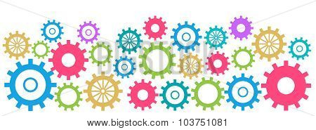 Colorful Gears Background Horizontal