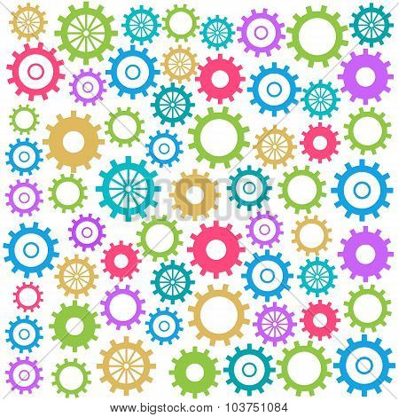 Colorful Gears Background Square