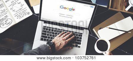 BANGKOK, THAILAND-October 2,2015: Young Man Browsing Google Website on her Laptop