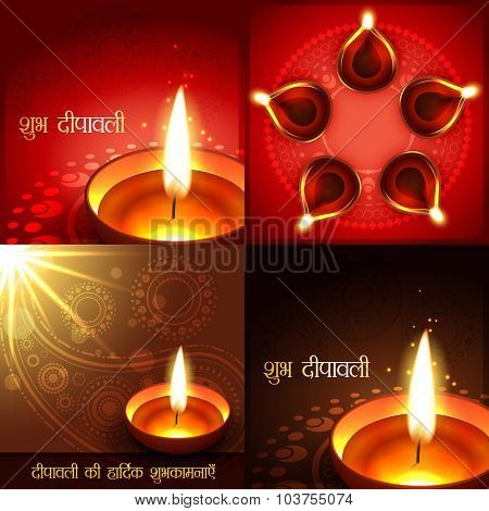 vector set of beautiful diwali background illustration, shubh deepawali (translation: happy diwali) and deepawali ki shubkamnaye (translation: happy diwali greetings)