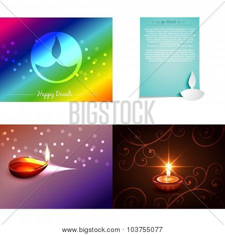 vector set of diwali background with diwali diya illustration, shubh deepawali (translation: happy diwali)