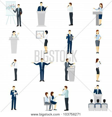 Public speaking people flat icons set