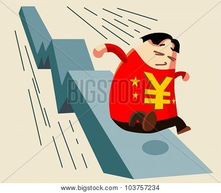 Yuan devaluation. Vector illustration Flat poster