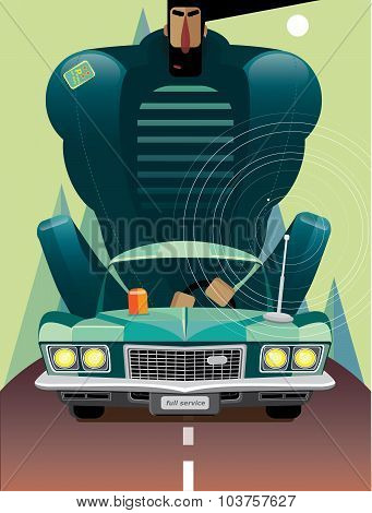 Man In Retro Car On The Road