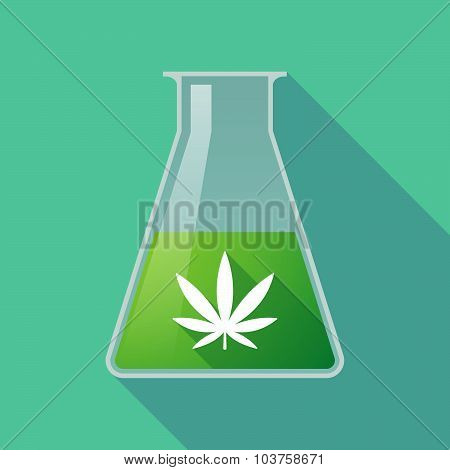 Long Shadow Chemical Test Tube Flask With A Marijuana Leaf