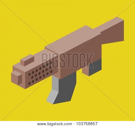 MSG machine gun. Isometric vector illustration