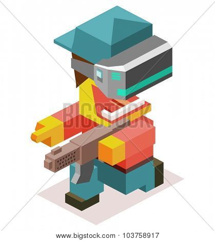 Virtual first person shooter. Isometric vector illustration