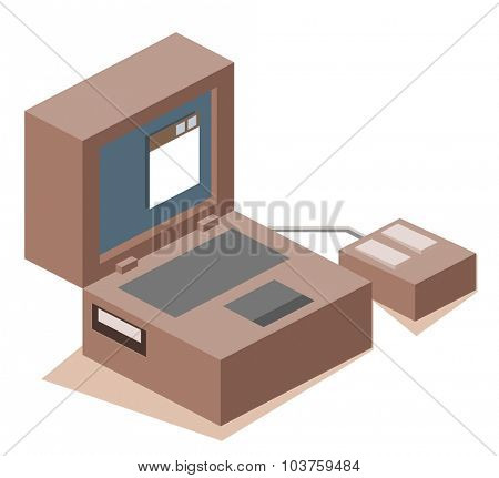 Old legacy computer. Isometric vector illustration