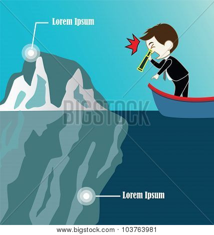 Businessman On Boat Look Iceberg By Binocular