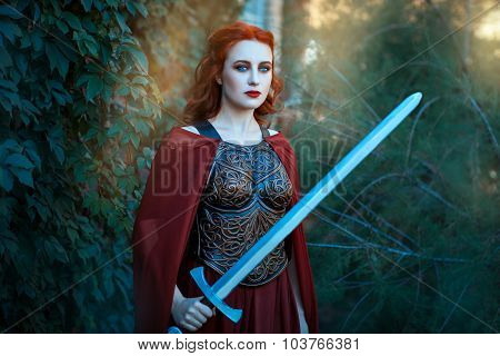 Girl Holding A Sword.