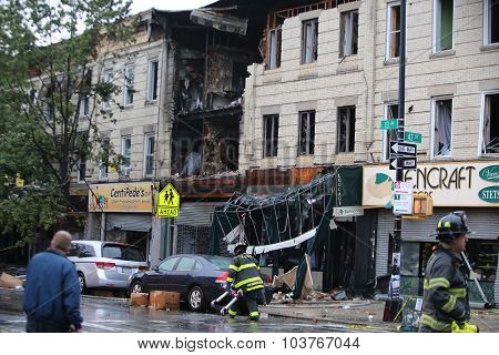 Collapsed store front on 13th Avenue