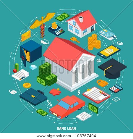 Bank loan concept with isometric financial wealth icons set vector illustration poster