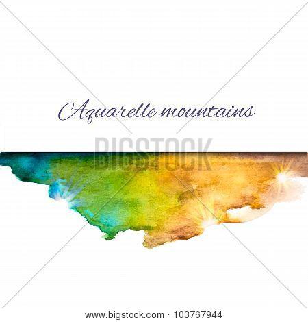 Aquarelle Mountains Blue Yellow