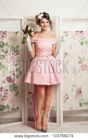 Beauty portrait of young cheerful bride