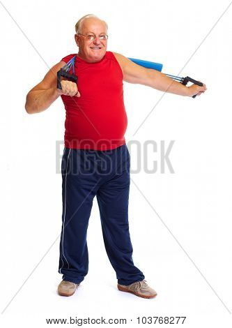 Elderly man with chest expander  isolated over white background.