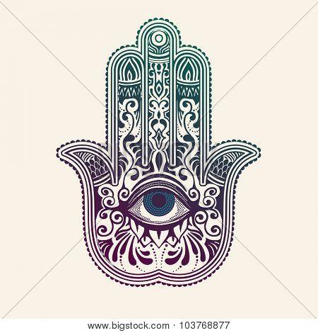 Hamsa or hand of Fatima, good luck charm, vector illustration