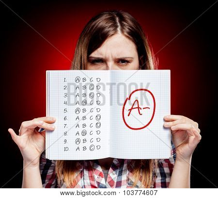 School Grade Of Exam And Disappointed Girl