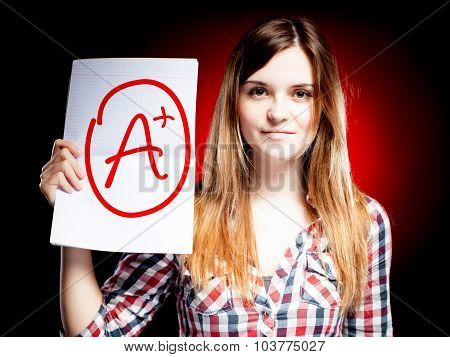 Perfect School Grade A Plus Of Exam And Happy Girl