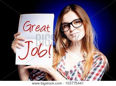 Great Job, School Exam And Happy Proud Girl