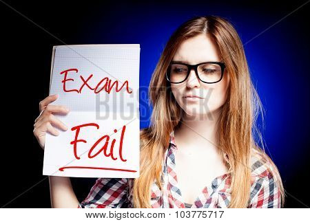 Failed Test Or Exam And Disappointed Girl