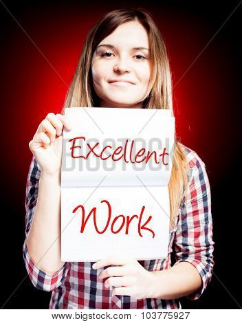 Excellent Work, Exam And Happy Woman