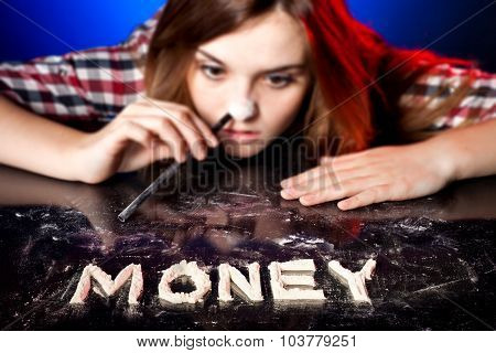 Woman Snorting Cocaine Or Amphetamines, Money Addiction